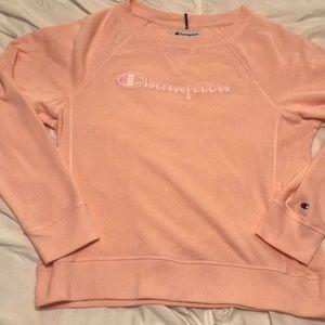 Pink champion women's crew neck sweatshirt